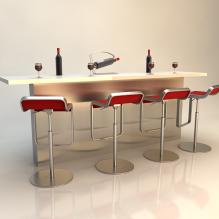 吧台组合-建筑-厨房-VR/AR模型-3D城