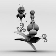 小蜜蜂和小女孩-人物_角色-小孩-CG模型-3D城