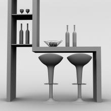 吧台组合-室内建筑-餐厅-CG模型-3D城