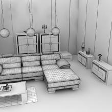 室内渲染-室内建筑-客厅-CG模型-3D城