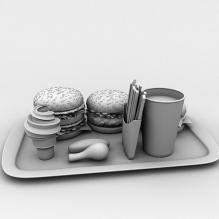 麦当劳套餐-食品-杂食-CG模型-3D城