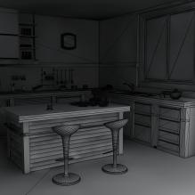 乡村风格的厨房-建筑-厨房-VR/AR模型-3D城