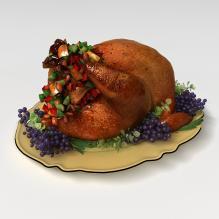烤鸡-食品-杂食-CG模型-3D城