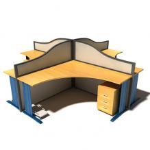 办公桌组合-生活办公用品-办公用品-CG模型-3D城