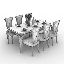 现代餐桌-家居-桌椅-CG模型-3D城
