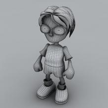 卡通戴眼镜的小男孩-人物_角色-小孩-CG模型-3D城