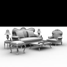 欧式布艺沙发-家居-沙发-CG模型-3D城