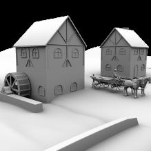 水车-室外建筑-住宅-CG模型-3D城