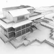 越湖名砥独立别墅-室外建筑-古建筑-CG模型-3D城
