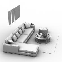沙发茶几组合-室内建筑-客厅-CG模型-3D城