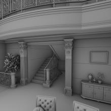 室内的维多利亚式的客厅-室内建筑-客厅-CG模型-3D城