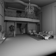 奢华公寓-室内建筑-客厅-CG模型-3D城