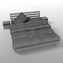木制双人床-家居-床-CG模型-3D城