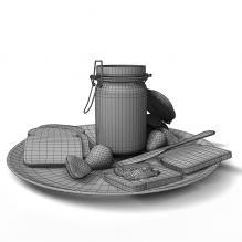 果酱配吐司-食品-杂食-CG模型-3D城