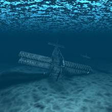 水底飞机坠毁的旧飞机-飞机-私人飞机-CG模型-3D城