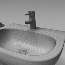 现代浴室 水咀-室内建筑-卫浴-CG模型-3D城