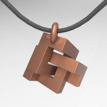 打结的立方体吊坠-首饰-3D打印模型-3D城