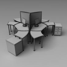 办公桌 组合-生活办公用品-办公用品-CG模型-3D城
