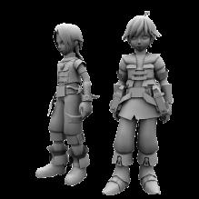 帅气可爱的两个男孩-人物_角色-小孩-CG模型-3D城