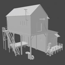 路边房子-室外建筑-住宅-CG模型-3D城