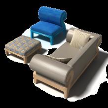 沙发组合-家居-桌椅-CG模型-3D城
