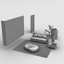 欧式沙发茶几组合家具-室内建筑-客厅-CG模型-3D城