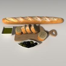 法式面包-食品-杂食-CG模型-3D城