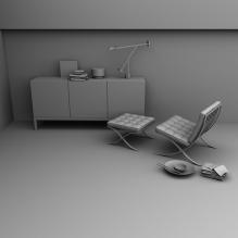 非常简约的现代客厅-室内建筑-客厅-CG模型-3D城